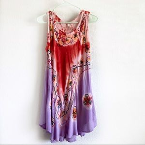 Dresses & Skirts - Tie-dye pink purple embroidered swing dress